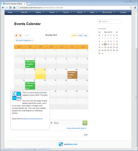 Sophisticated calendar with iCal synchronisation