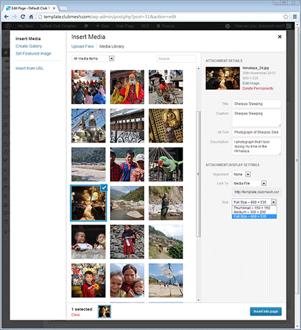 Easy to use media library interface